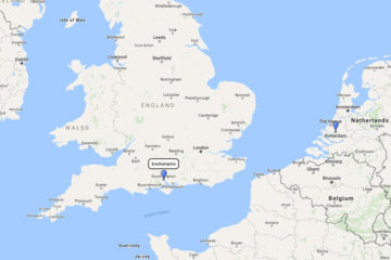 Cunard Cruises Southampton to Rotterdam 4d route